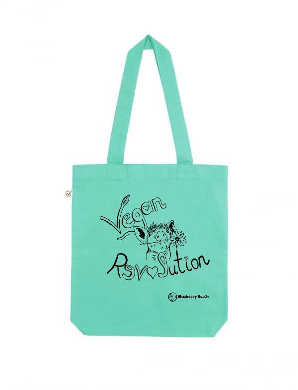 Vegan revolution mint tote bag