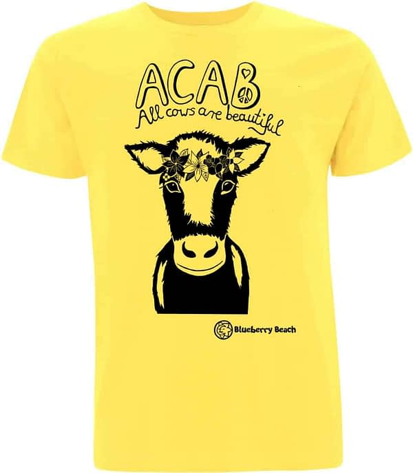 Acab all cows are beautiful screen print cow with flower crown organic t-shirt