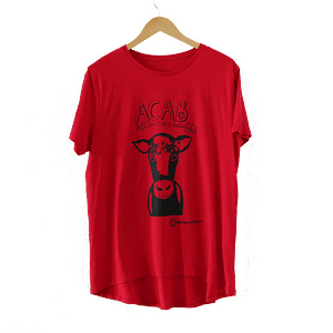 red second hand t-shirt cow with flower crown screen print and acab all cows are beautiful written on it