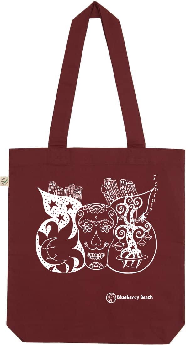 Sugar skull organic tote bag burgundy