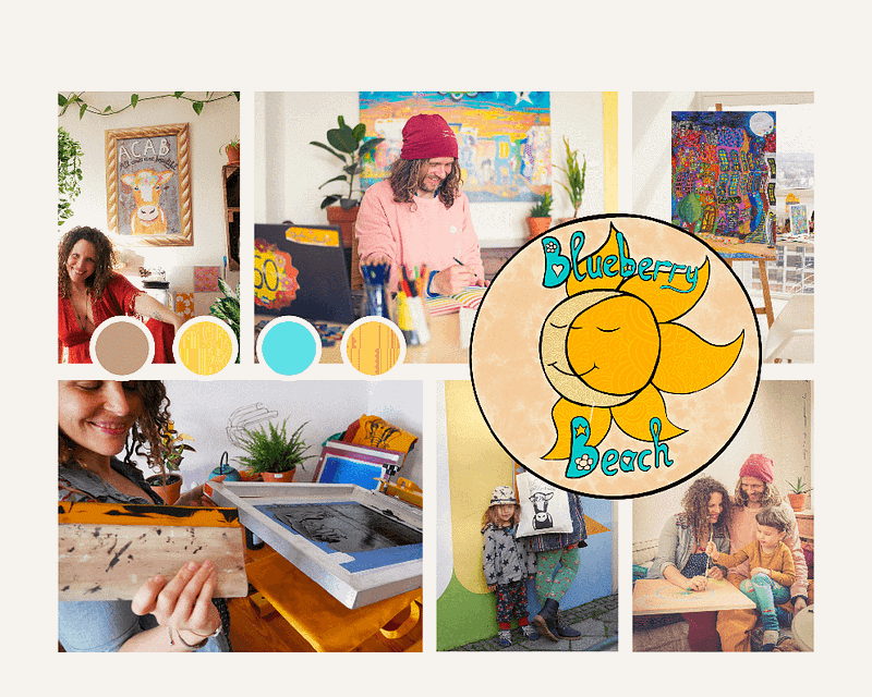 a photocollage with Zoé Keleti and Joshua Parksteinhoff, the founders of Blueberr beach