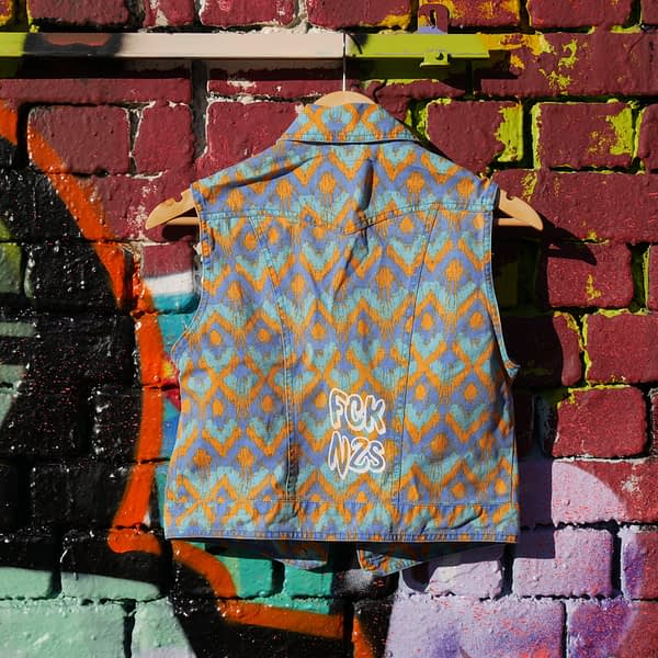 vintage vest Fck nzs upcycled screen printed colourful vest