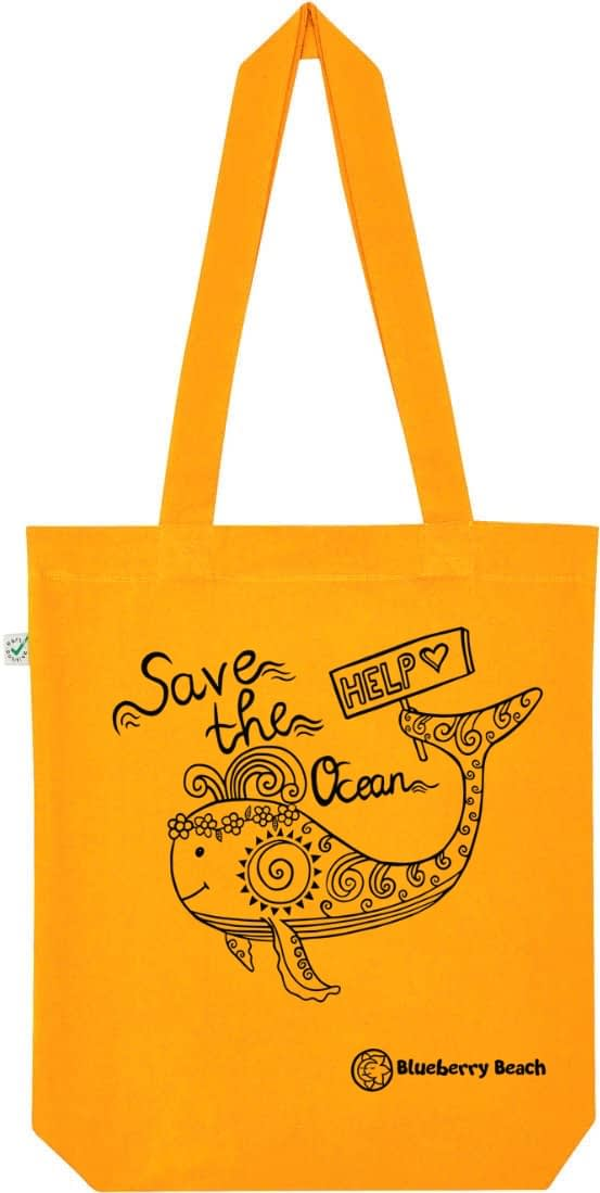 Save the ocean gold yellow tote bag