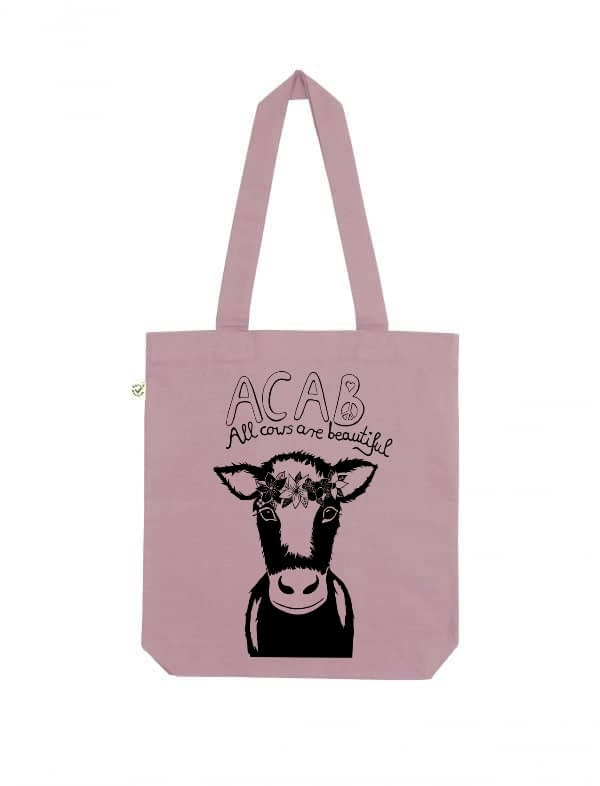 Acab all cows are beautiful purple rose tote bag