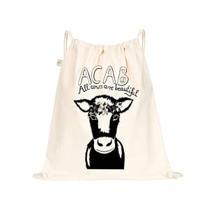 Organic bag with acab all cows are beautiful and a cow with flower crown screen printed on it