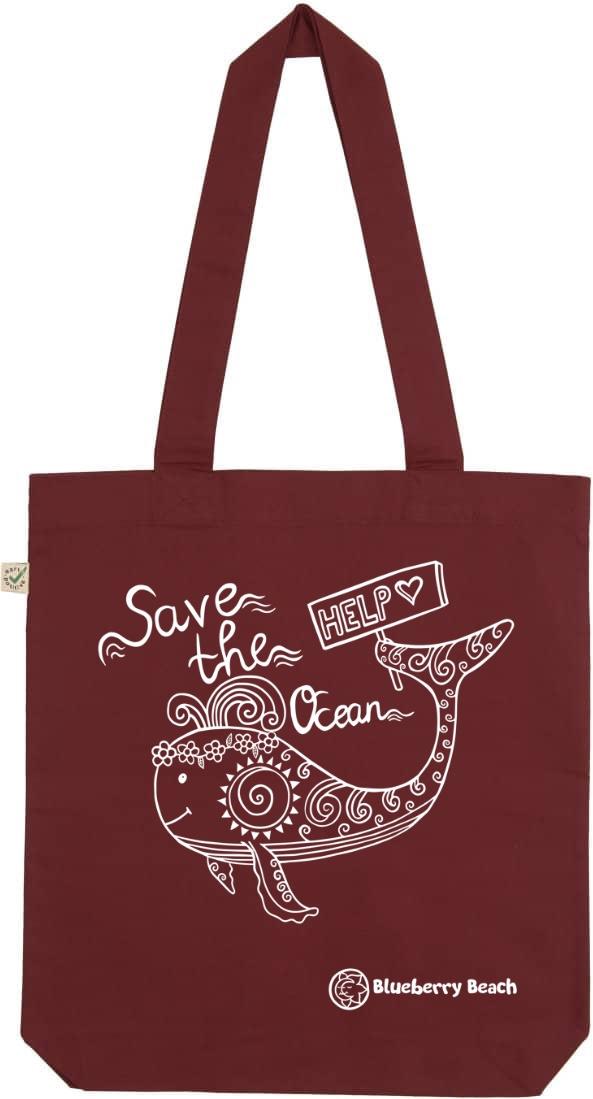 Save the ocean burgundy tote bag