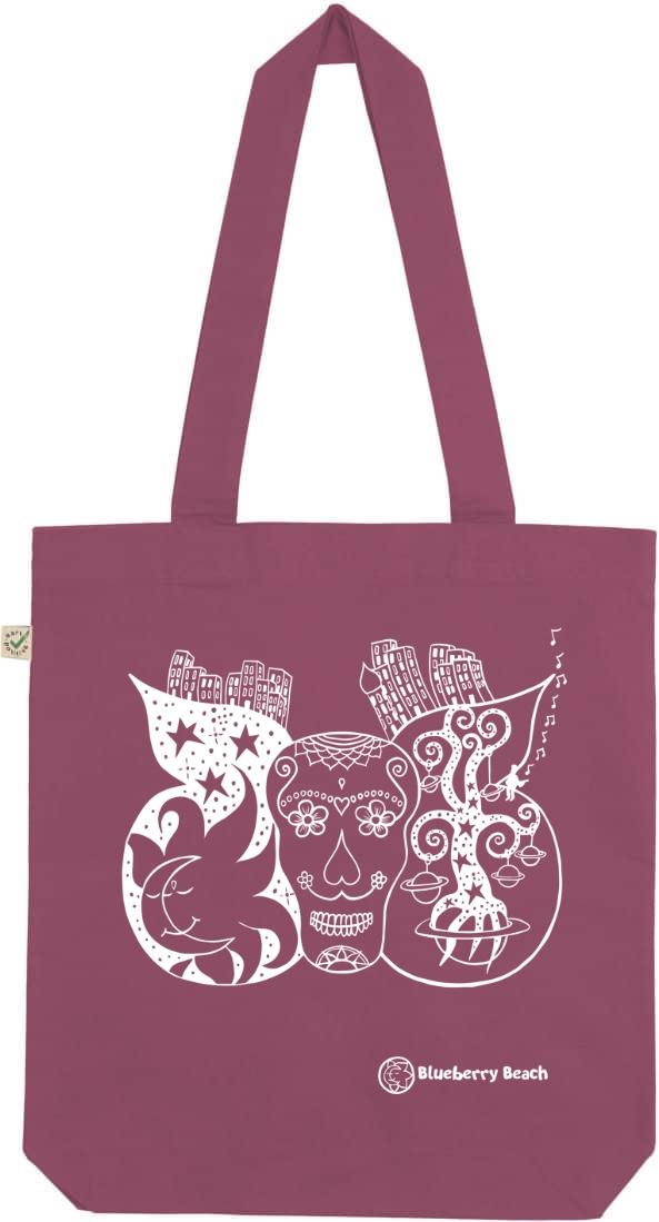 Sugar skull organic tote bag berry