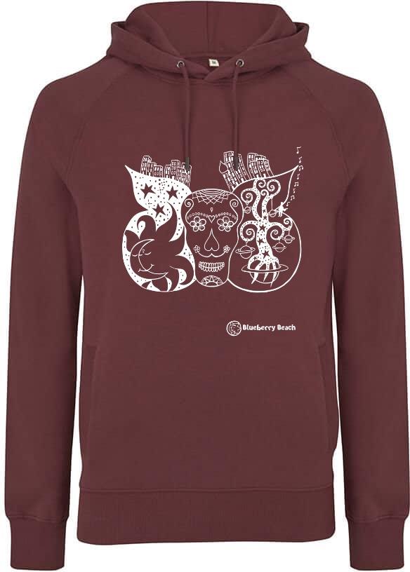 Burgundy hoodie sugar skull