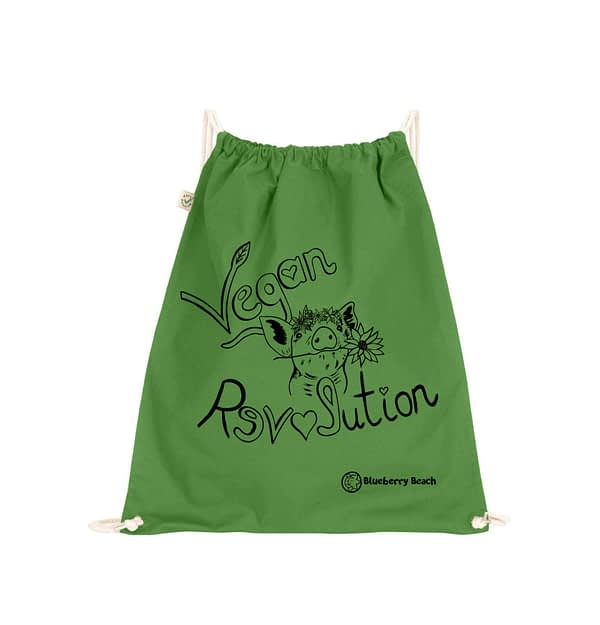 Organic cotton gym bag vegan revolution and a pig with flowers screen printed on it