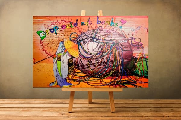 drop acid not bombs surreal painting print on canvas