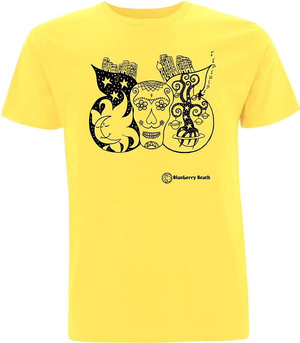 Sugar skull yellow organic t-shirt