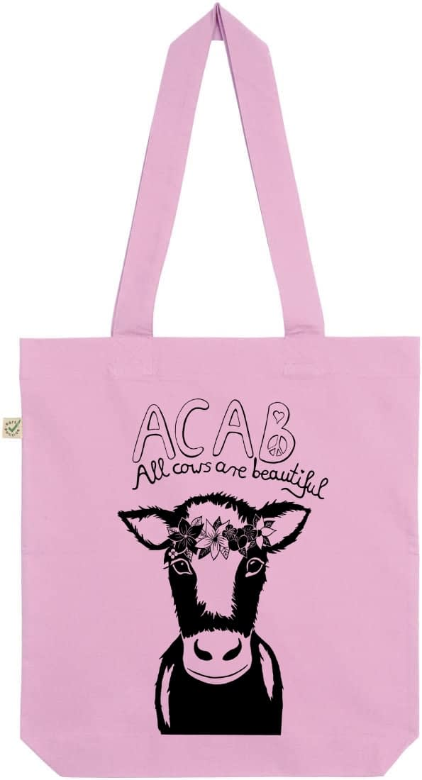 Acab all cows are beautiful light pink tote bag