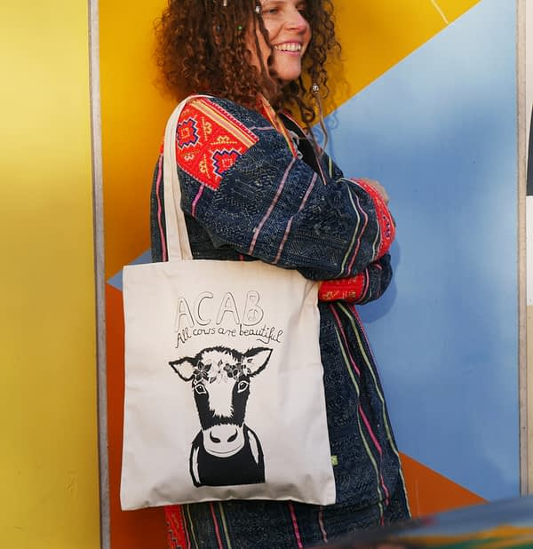 cow with flower crown bio cotton tote bag