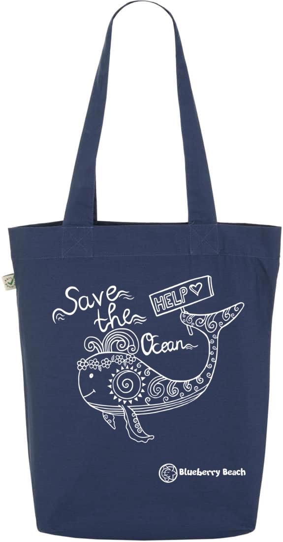 Save the ocean denim tote bag