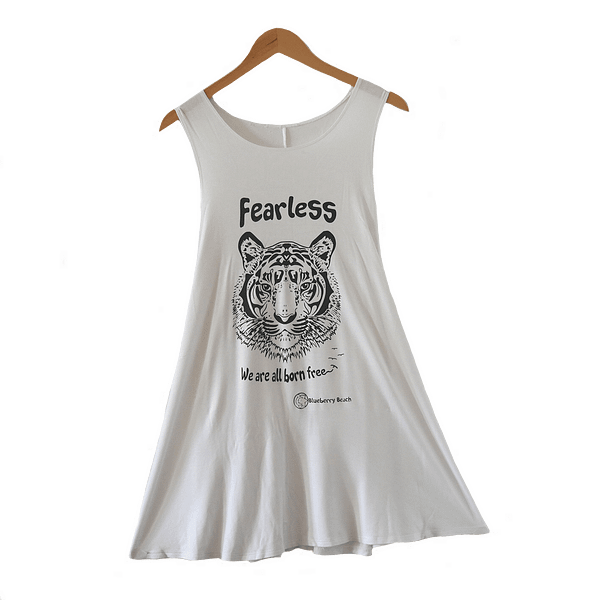 White vintage dress screen print tiger und fearless we are all born free written on it