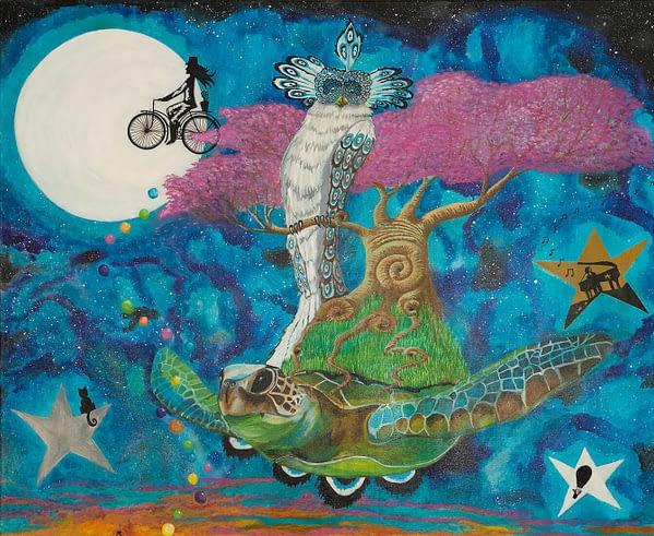 flying turtle owl painting by zoé keleti