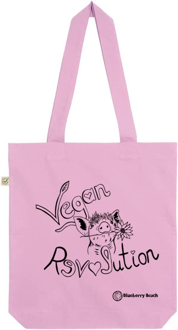 Vegan revolution pink tote bag