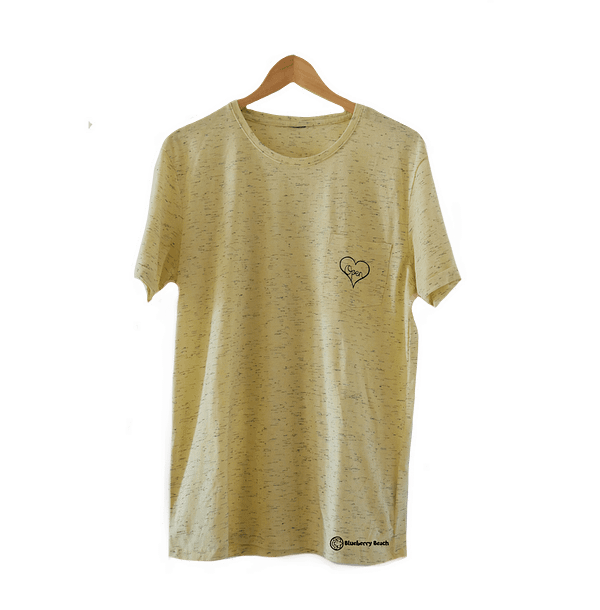 Light yellow men t-shirt with open heart screen printed on it