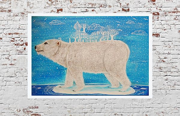polar bear on a melted ice island with a white city on the back, fine art print of a painting by zoé keleti