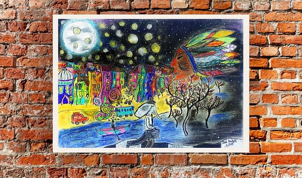 bubbles in the sky original painting by Zoé Keleti native amarecan with pipe painting