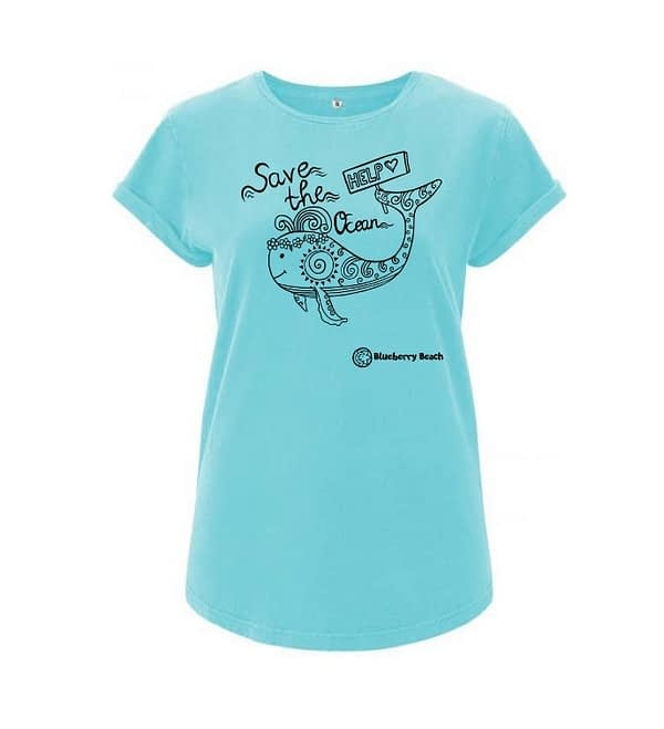 Organic t-shirt with whale screen print and save the ocean text