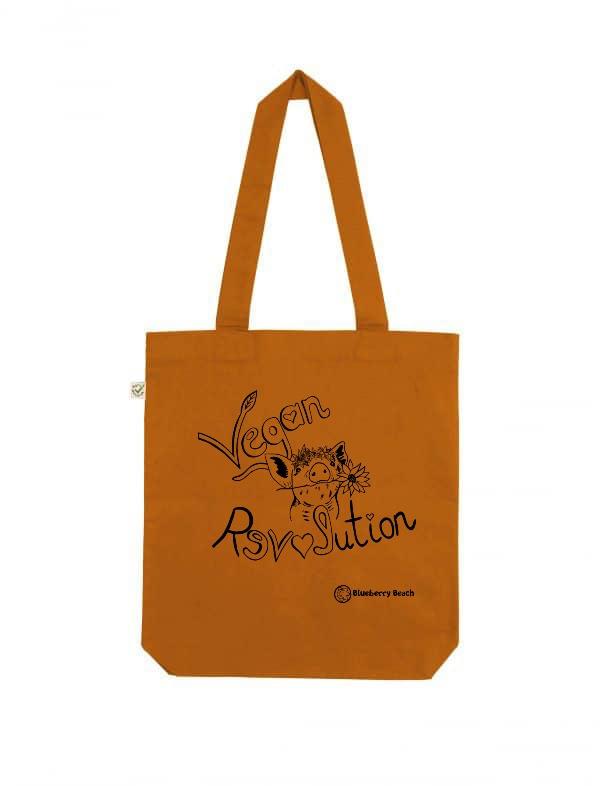 Vegan revolution tote bag pig flowercrown screen print