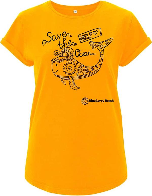 Save the ocean yellow organic t-Shirt whale screen print