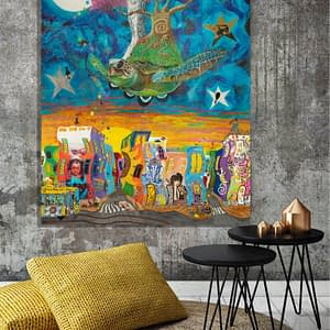 flying turtle owl cherry tree with beautiful city at night, fine art print on canvas neverending journey by zoé keleti