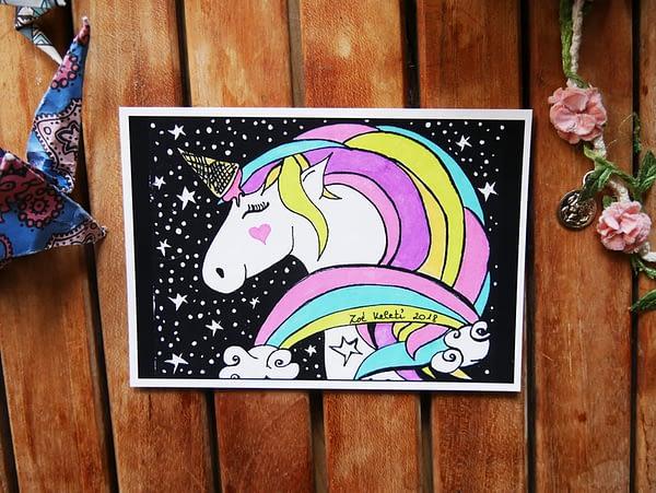 unicorn ice cream painting by zoé keleti