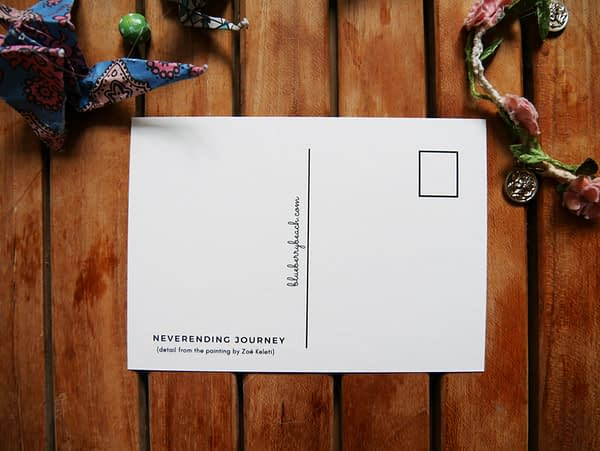 neverending journey back of postcard