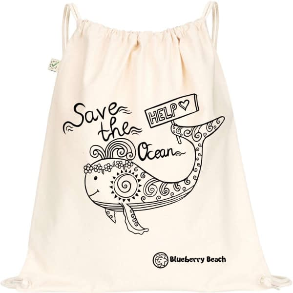 Organic gym bag with save the ocean and a whale with flower crown screen printed in it