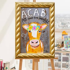 Acab - All Cows are Beautiful original gemälde by Zoé Keleti cow with flowercrown