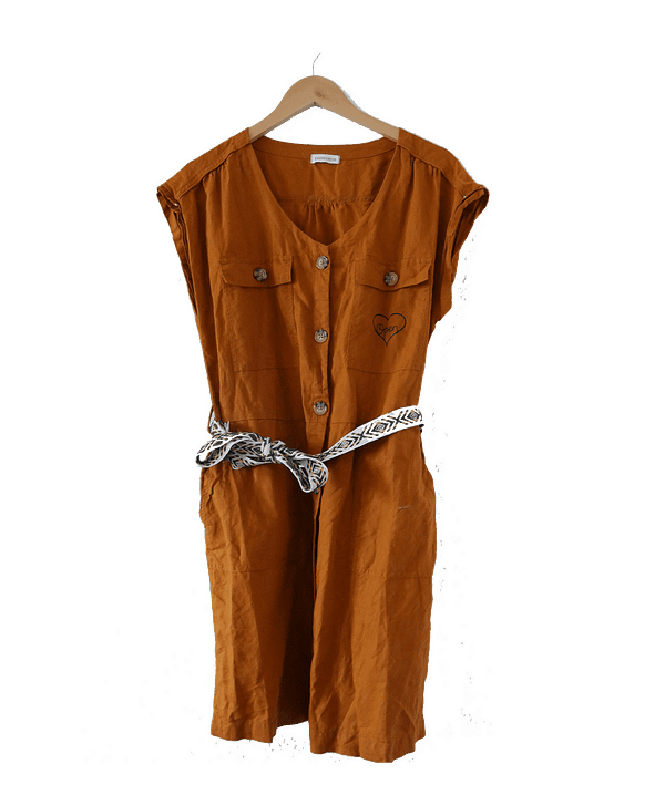 rusty vintage dress upcycled with a heart and open screen printed on ti
