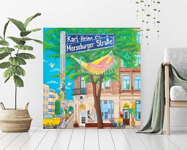 canvas print og a painting about leipzig plagwitz, karl- heine strasse merseburger strasse art