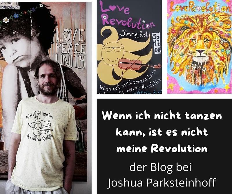 """Josgua steht mit einem selbst vedruckten T-Shirt vor seinem original """"Love.Peace.Unity"""" und sieht dabei sehr gut aus. Daneben ein Flyer der LoveRevolution, ein Löwe mit Blumen im Haar und viel vegane Inspiration füreine vegane Revolution auf dem veganen Blog"""