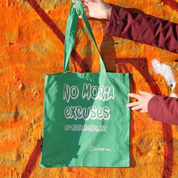 no moria excuses organic cotton tote bag blueberry beach