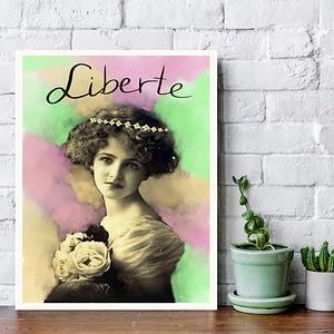 liberté art work by Zoé Keleti, woman wit flowercrown digital painting pastell colours