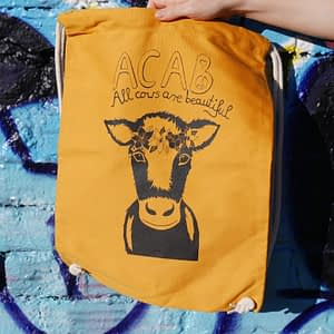 acab - all cows are beautiful mustard organic cotton gym sack
