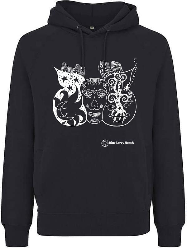 Black organic sugar skull hoodie