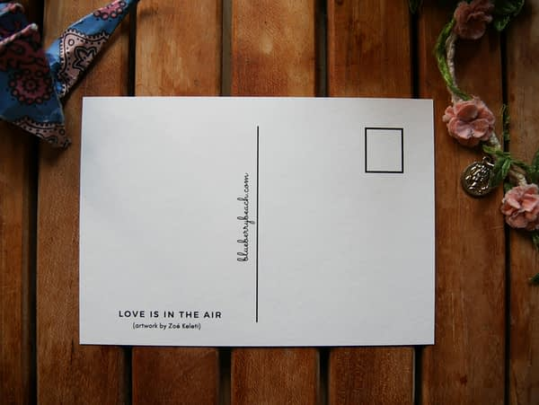 love is in the air back of postcard