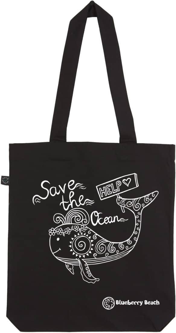 Save the ocean black tote bag