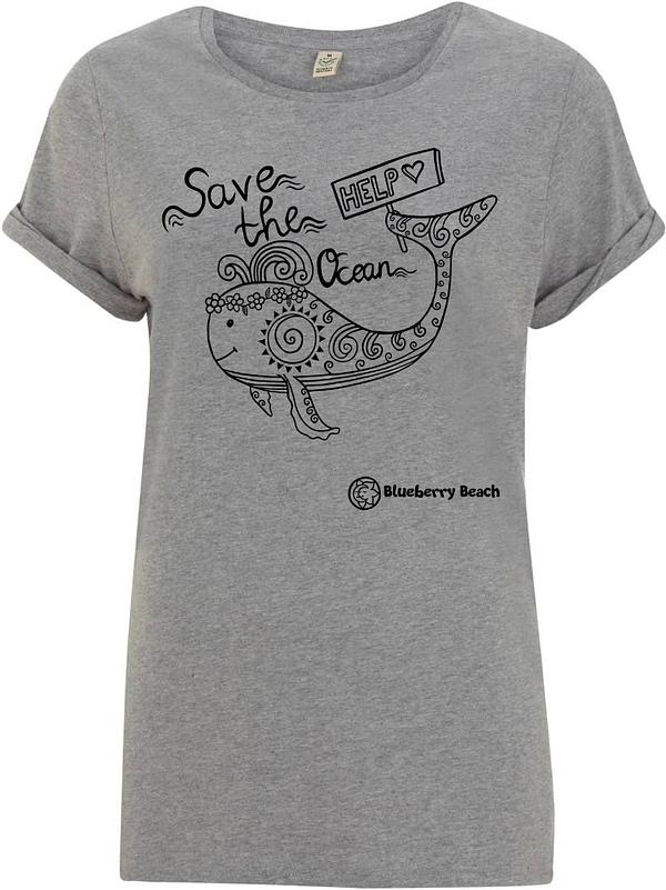 Save the ocean grey organic t-Shirt whale screen print
