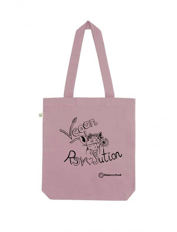 Vegan revolution tote bag purple rose
