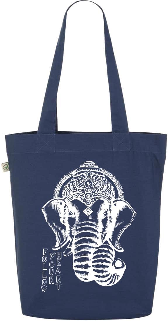Follow your heart Ganesha organic tote bag