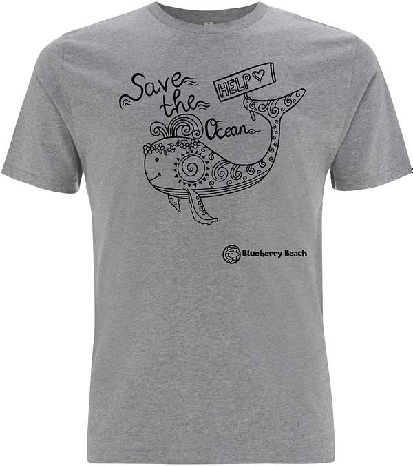 Save the oceans gray organic t-Shirt whale screen print