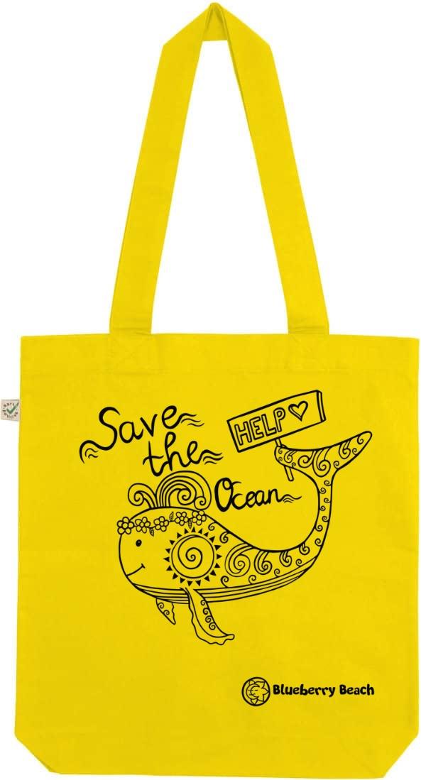 Save the ocean lemon tote bag