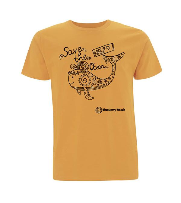 Save the ocean mango organic t-Shirt whale screen print