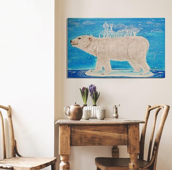 polar bear on a melting ice island canvas art print, surreal climate change painting
