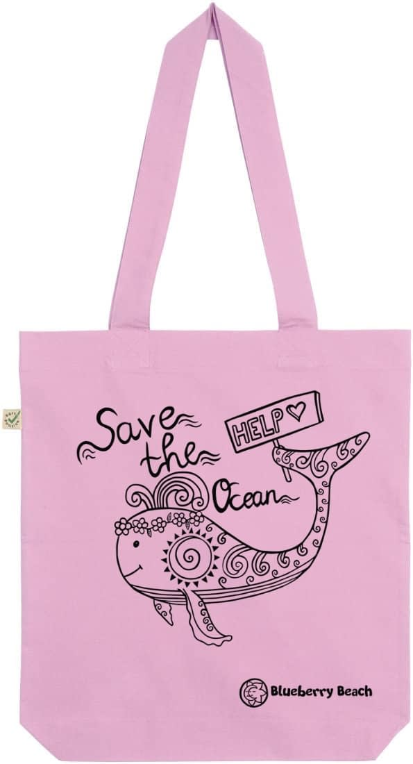 Save the ocean light pink tote bag