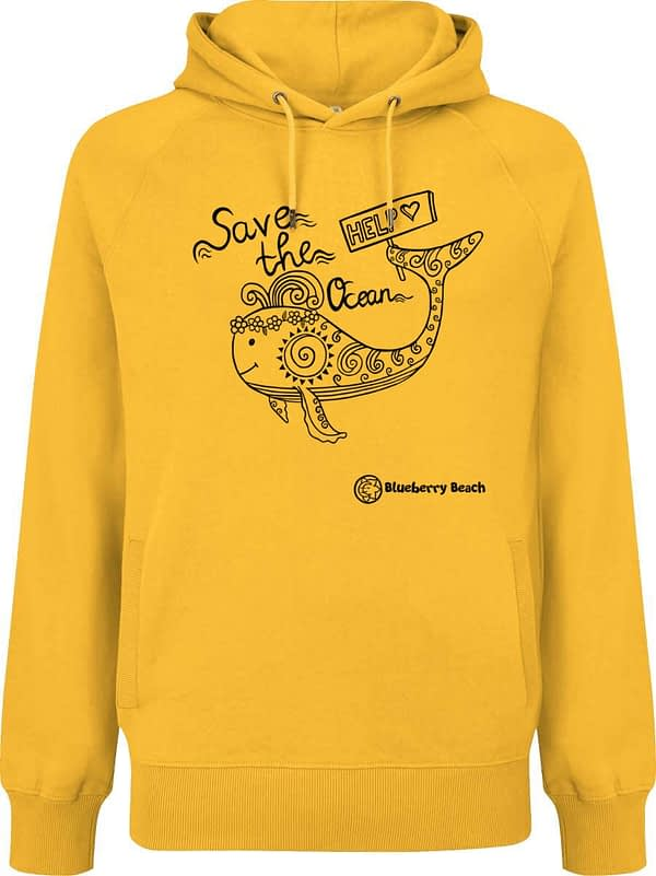 Organic hoodie with whale and save the ocean text screen print
